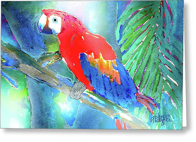 Parrot Mixed Media Greeting Cards - Macaw II Greeting Card by Arline Wagner