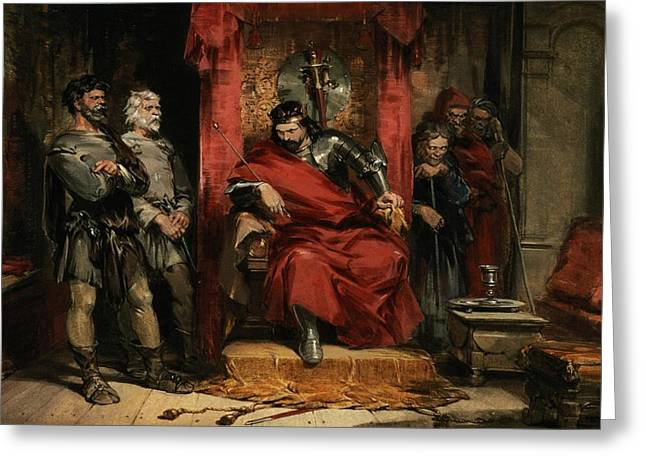 Plotting Paintings Greeting Cards - Macbeth instructing the Murderers employed to kill Banquo Greeting Card by George Cattermole