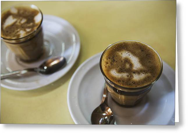 City And Colour Greeting Cards - Machiato Coffee In The Tomoca Coffee Greeting Card by Toby Adamson
