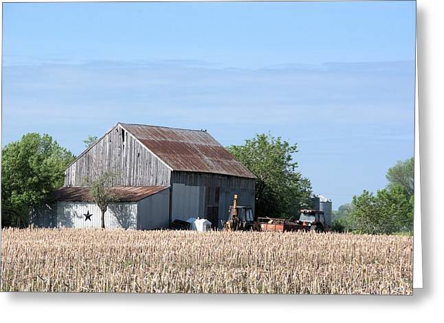 Sheds Greeting Cards - Machine Shed by a Corn Field Greeting Card by Valerie Kirkwood