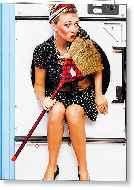 Machine Wash Housewife Greeting Card by Jorgo Photography - Wall Art Gallery