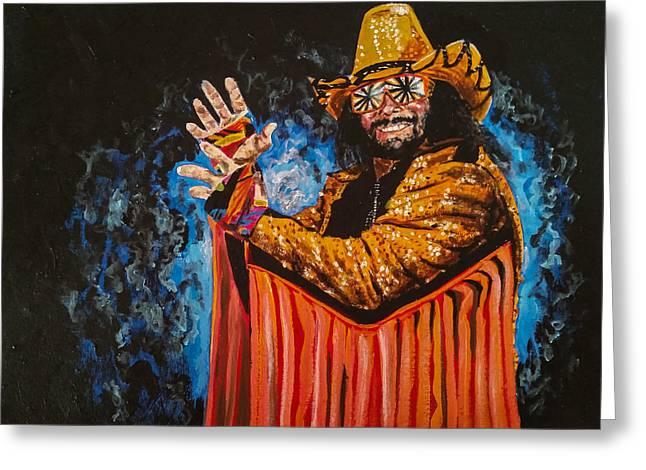 Recently Sold -  - Randy Greeting Cards - Macho Man Randy Savage Greeting Card by Joel Tesch