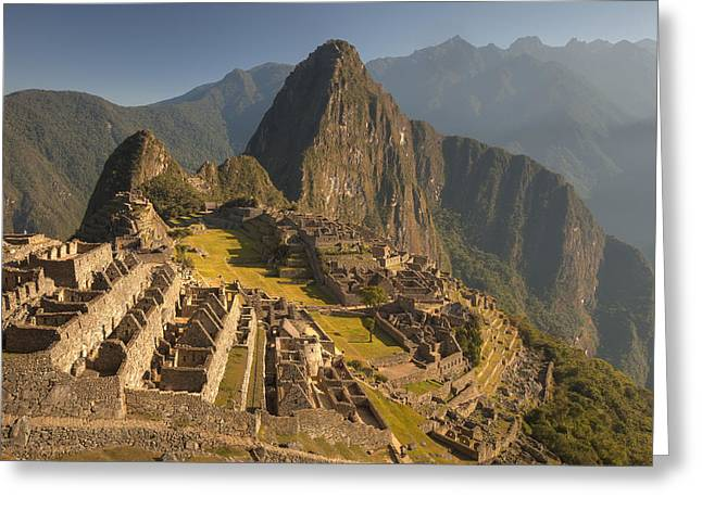 Machu Picchu At Dawn Near Cuzco Peru Greeting Card by Colin Monteath