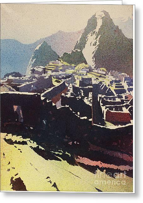 Machu Picchu Morning Greeting Card by Ryan Fox