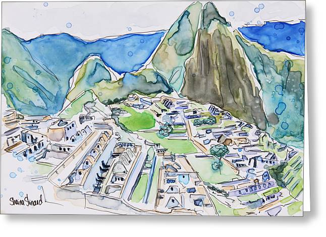 Yupo Paper Greeting Cards - Machu Picchu Greeting Card by Shaina Stinard
