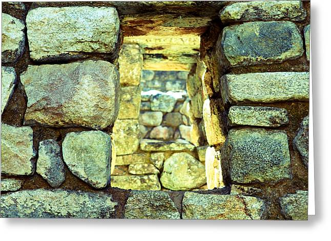 World Wonder Greeting Cards - Machu Picchu Window Greeting Card by Ariane Moshayedi