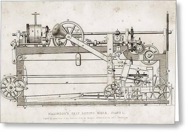 Machinery Drawings Greeting Cards - Macindoe S Self Acting Mule. Copied By Greeting Card by Vintage Design Pics