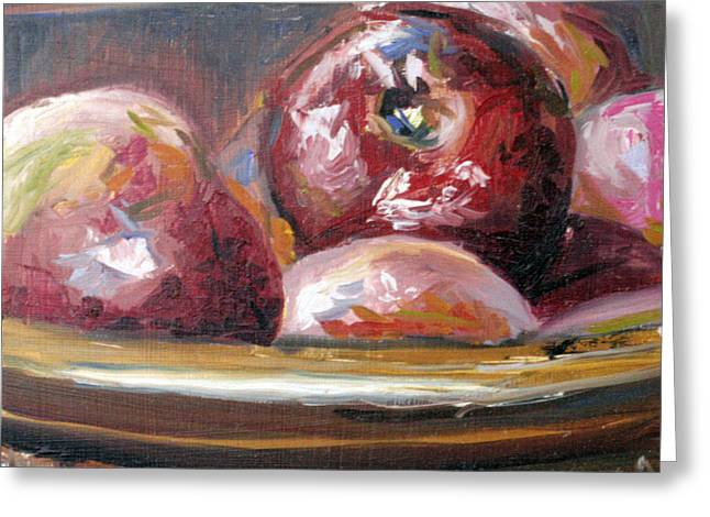 Wooden Bowls Paintings Greeting Cards - Macintosh Greeting Card by Janice Tanton