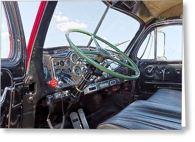 Steering Greeting Cards - Mack Truck Interior Greeting Card by Rudy Umans