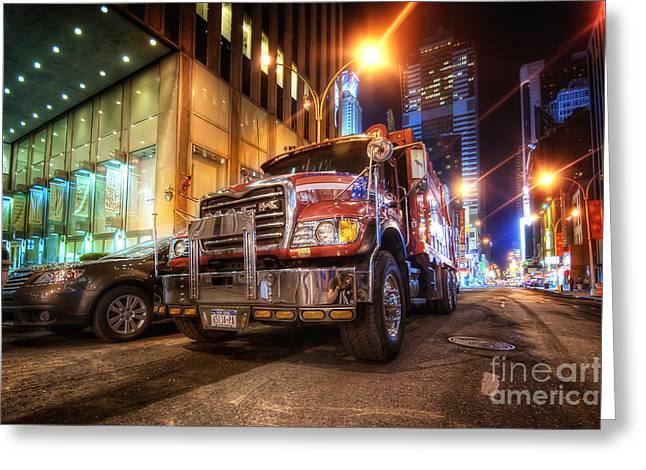 Night Shots Greeting Cards - Mack Truck NYC Greeting Card by Yhun Suarez