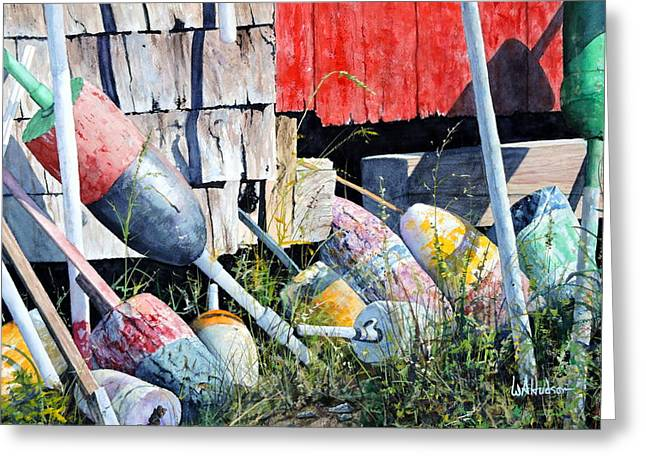 Maine Shore Greeting Cards - Mackerel Cove Buoys Greeting Card by Bill Hudson