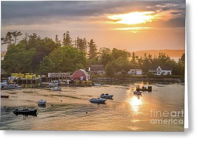 Mackerel Cove Sunset Scene Greeting Card by Benjamin Williamson