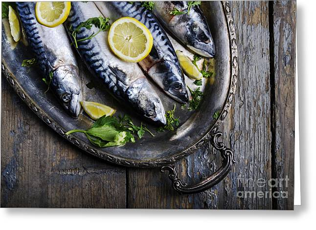 Mackerels On Silver Plate Greeting Card by Jelena Jovanovic