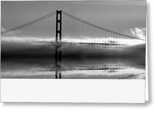 Foggy Beach Greeting Cards - Mackinac Bridge in Fog Greeting Card by Matt Hammerstein
