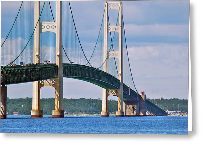 Mackinac Bridge Greeting Card by Michael Peychich