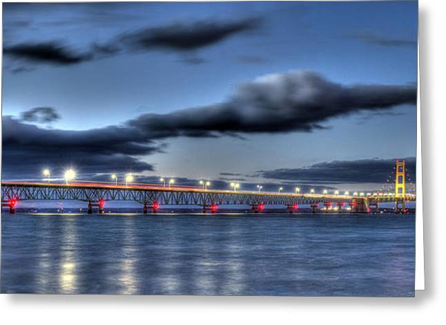 Evening Lights Greeting Cards - Mackinac Bridge   Greeting Card by Twenty Two North Photography