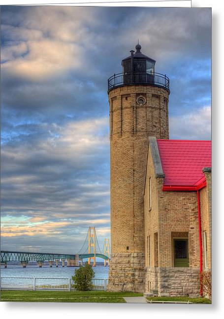 Mackinac Lighthoue And Bridge Greeting Card by Twenty Two North Photography