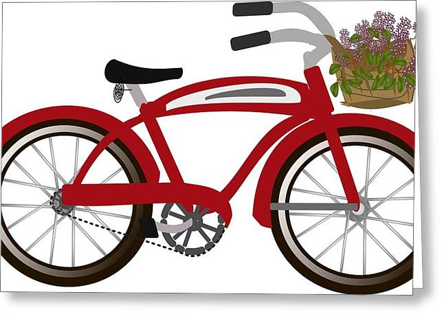 Mackinaw Bike With Lilacs Greeting Card by Laurianne Nash