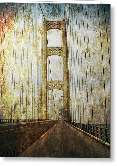Roadway Greeting Cards - Mackinaw Bridge by the Straits of Mackinac Greeting Card by Randall Nyhof