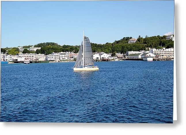Blue Sailboats Greeting Cards - Mackinaw Island Greeting Card by James Lafnear