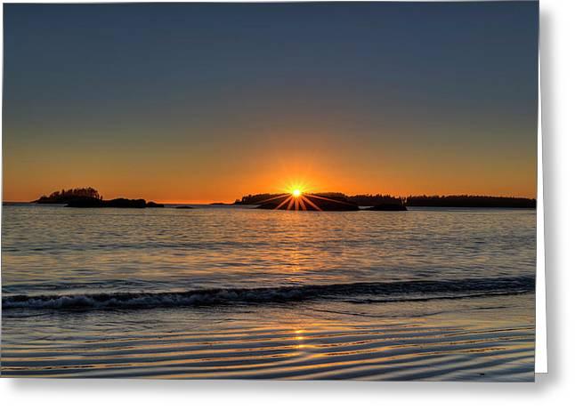 Mackinsie Beach Sun Burst Greeting Card by Mark Kiver