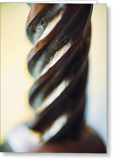 Industrial Background Greeting Cards - Macro Close up of a drill bit texture backgroud Greeting Card by Eduardo Huelin
