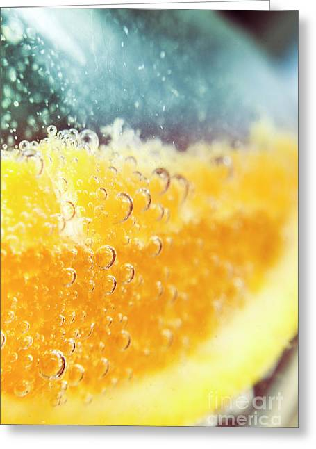 Macro Detail On A Club Orange Cocktail Greeting Card by Jorgo Photography - Wall Art Gallery