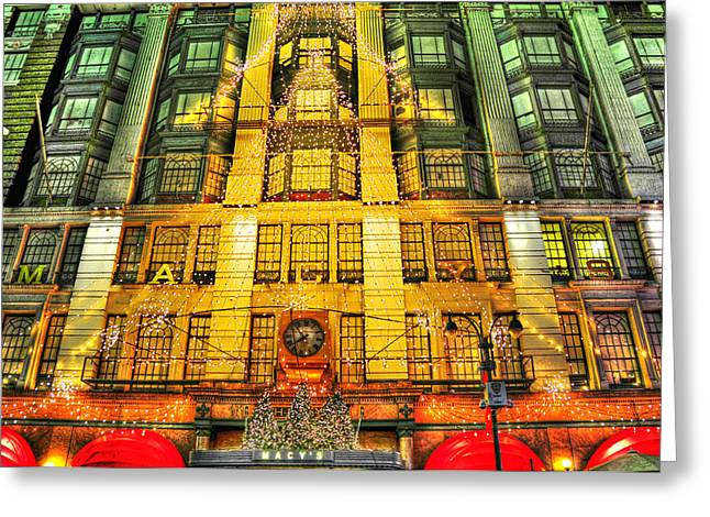 Macy Greeting Cards - Macys at Christmas Greeting Card by Randy Aveille