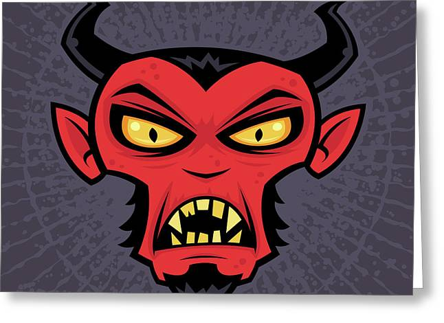 Halloween Greeting Cards - Mad Devil Greeting Card by John Schwegel