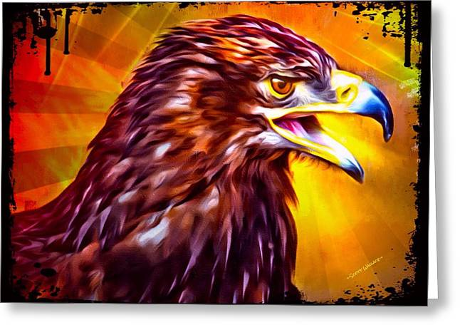 Apart From Others Greeting Cards - Mad Eagle Portrait Greeting Card by Scott Wallace
