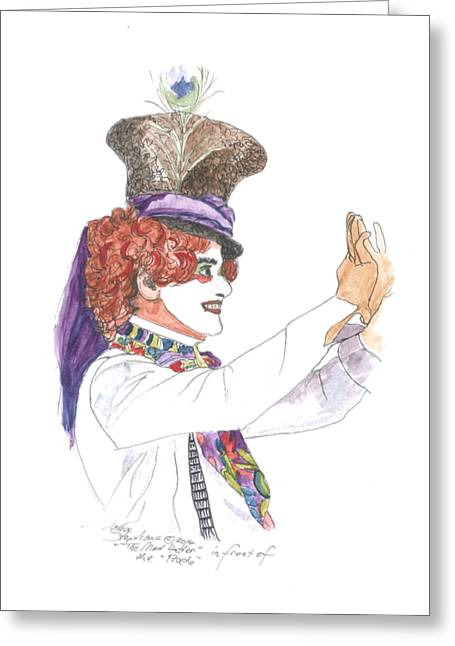 Mad Hatter Paintings Greeting Cards - Mad Hatter Greeting Card by Petra Stephens
