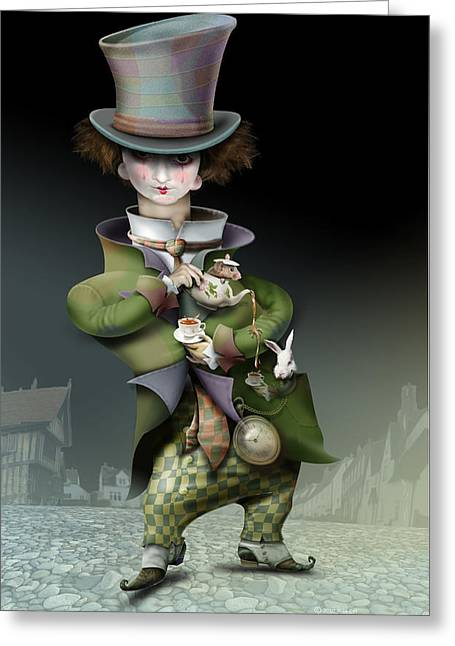Mad Hatter Greeting Cards - Mad Hatter Greeting Card by Russel Ball