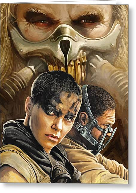 Charlize Theron Greeting Cards - Mad Max Fury Road Artwork Greeting Card by Sheraz A
