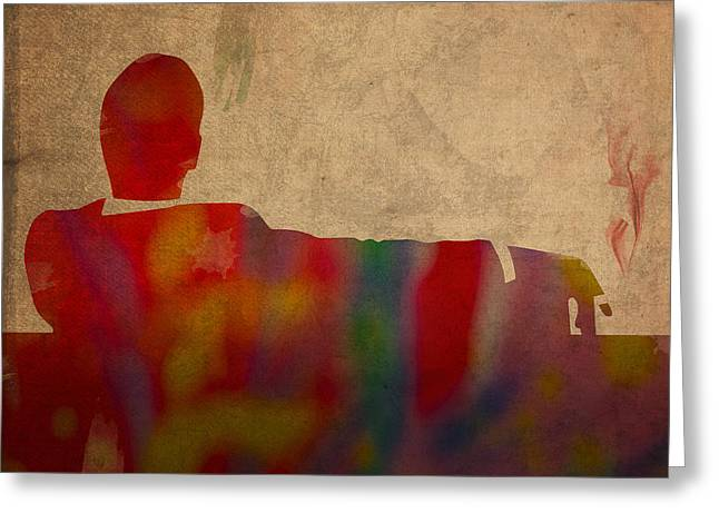 Mad Men Watercolor Silhouette Painting On Worn Parchment No 3 Greeting Card by Design Turnpike