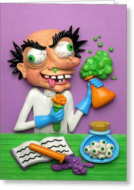 Experiment Greeting Cards - Mad Scientist Greeting Card by Amy Vangsgard