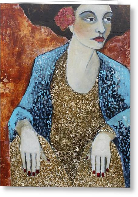 Madam Blue Greeting Card by Jane Spakowsky