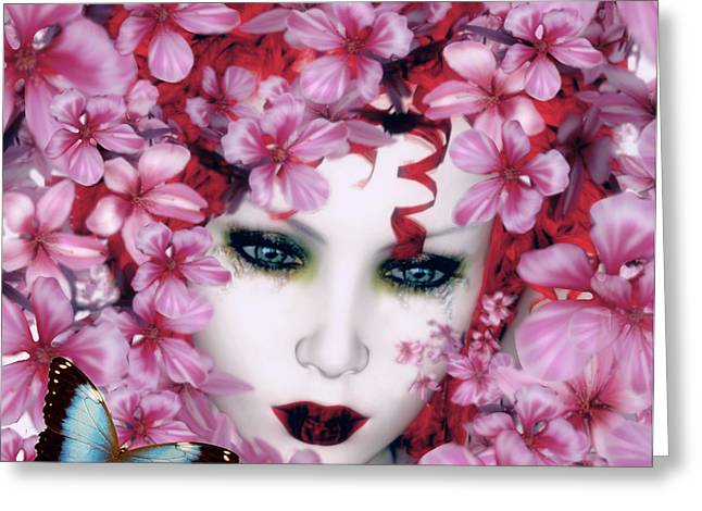Pink Digital Art Greeting Cards - Madame Butterfly Greeting Card by Shanina Conway