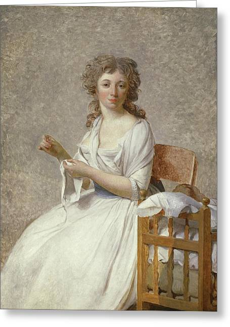 Madame De Pastoret And Her Son Greeting Card by Jacques Louis David