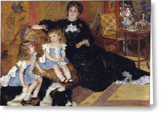 Interior Still Life Paintings Greeting Cards - Madame Georges Charpentier and her Children Greeting Card by Pierre Auguste Renoir
