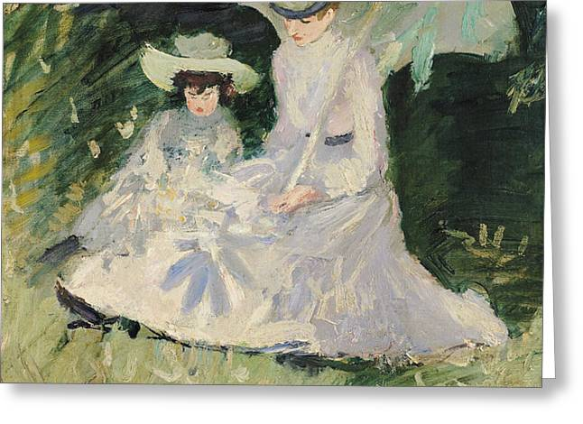 Madame Helleu and her Daughter at the Chateau of Boudran Greeting Card by Paul Cesar Helleu
