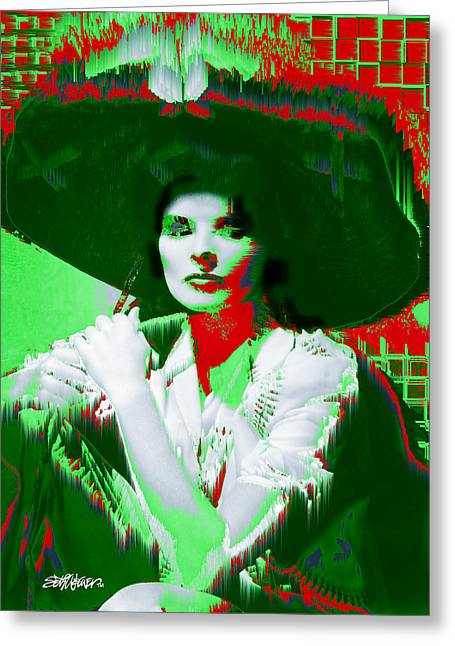 Madame Kate And The Big Hat Greeting Card by Seth Weaver