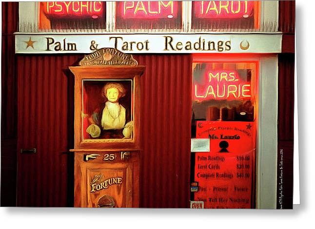 Madame Laurie's 24 Hour Fortune Atm Psychic Palm Tarot Fortune Be Told Circa 2016 20160626 Square Greeting Card by Wingsdomain Art and Photography