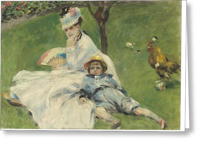 Monet Lady Greeting Cards - Madame Monet And Her Son Greeting Card by Auguste Renoir