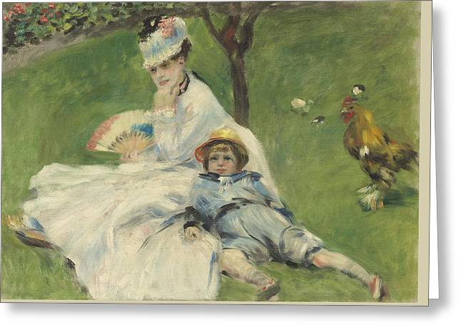 1874 Greeting Cards - Madame Monet and Her Son Greeting Card by Pierre Auguste Renoir