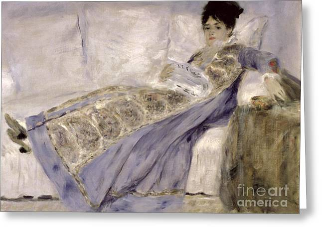 Wife Greeting Cards - Madame Monet on a Sofa Greeting Card by Pierre Auguste Renoir