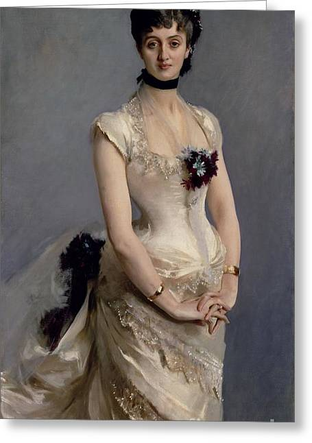 Gaze Greeting Cards - Madame Paul Poirson Greeting Card by John Singer Sargent
