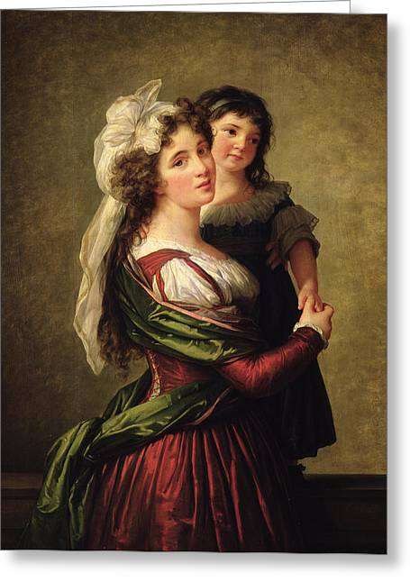 Parenthood Greeting Cards - Madame Rousseau and her Daughter Greeting Card by Elisabeth Louise Vigee Lebrun
