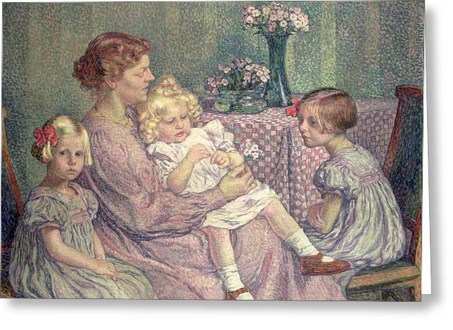 Caring Mother Paintings Greeting Cards - Madame van de Velde and her Children Greeting Card by Theo van Rysselberghe