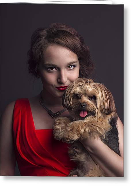 Madame With Yorky  Greeting Card by Peter Lakomy