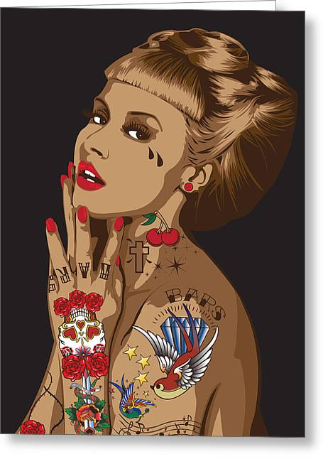 Rockabilly Digital Art Greeting Cards - Madame16x20 Greeting Card by Ibrahim Ismail